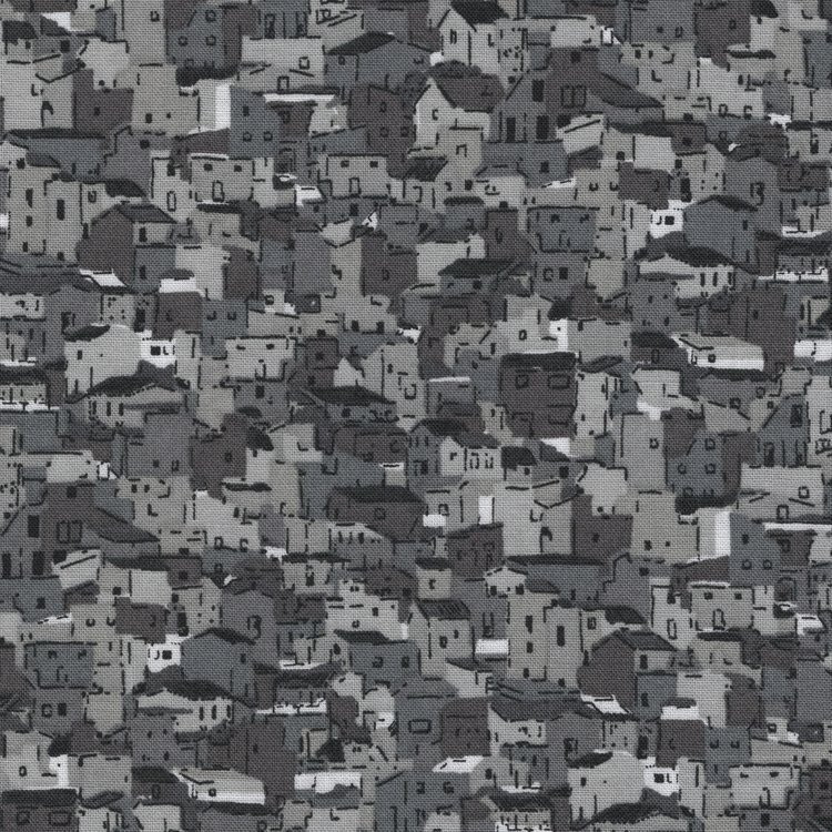 Stof a/s Quilters Coordinates grijs huisjes