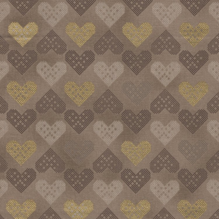 Stof a/s Christmas Wonders taupe hartjes