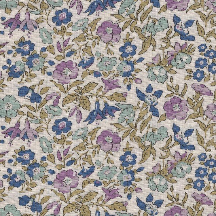 Liberty London English Garden Lasenby ecru paars bloem