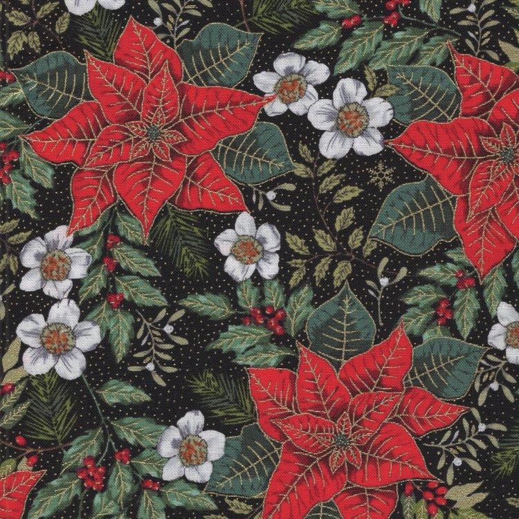 Andover Deck The Halls zwart rode kerstster