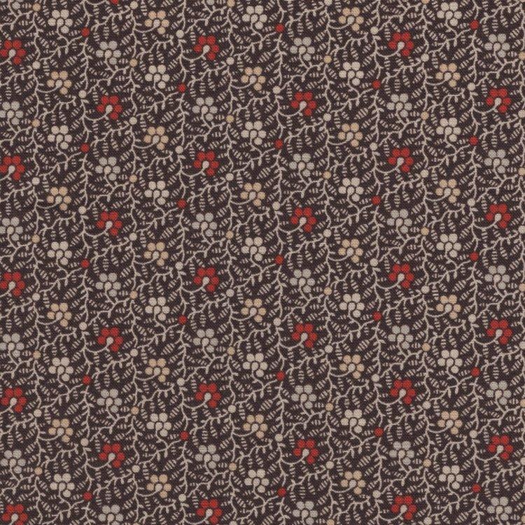 Marcus Fabrics Hill Country Heritage bruin rood bloemetje
