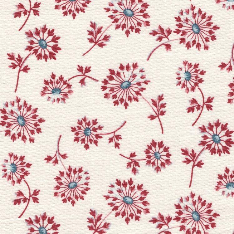 Andover Super Bloom ecru rode bloemen