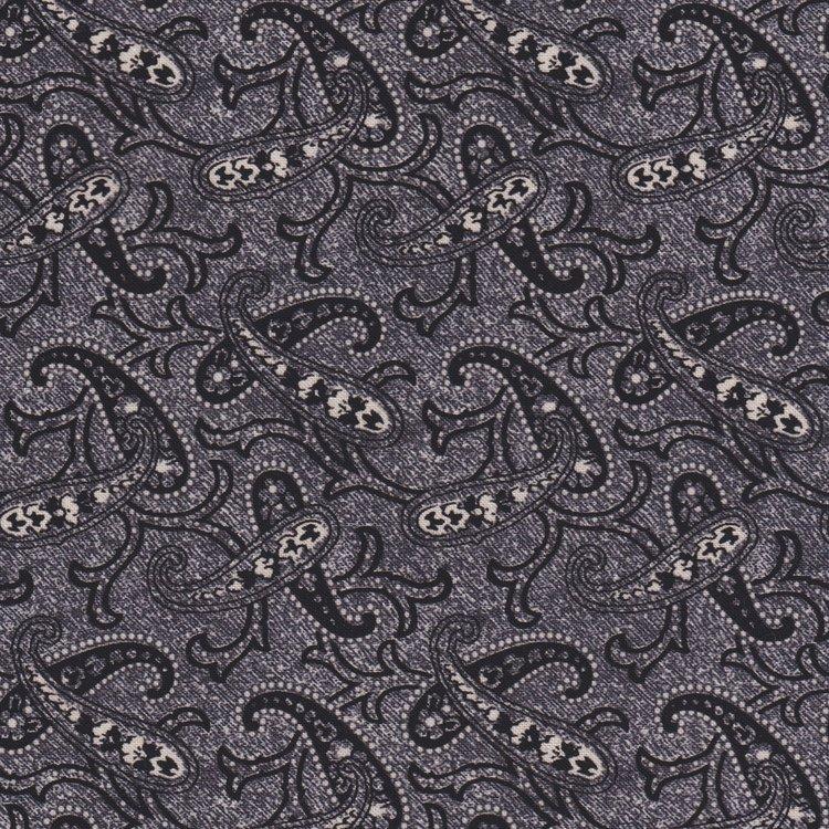 Penny Rose Fabrics Mourning Gray and Purple grijs paisley