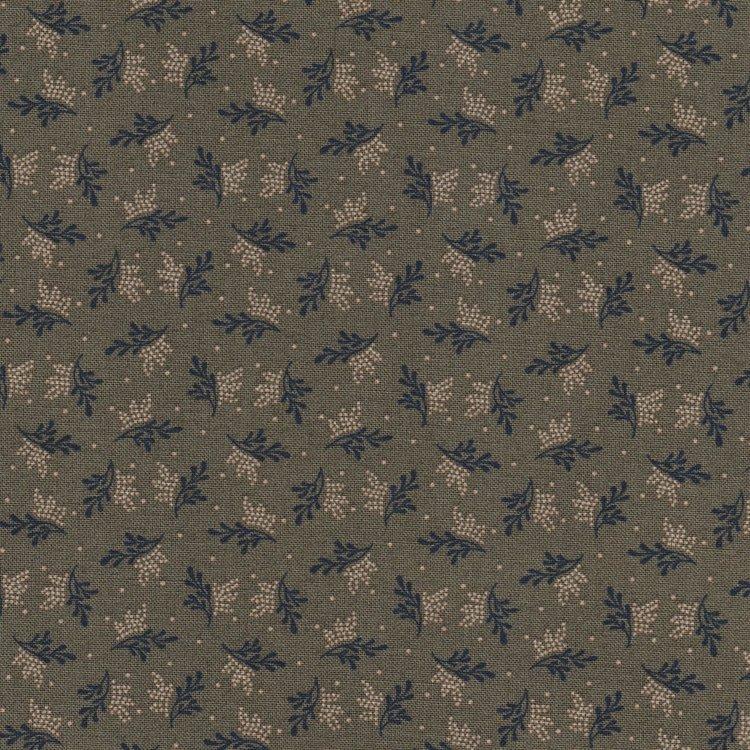 Marcus Fabrics Antique Cotton Calicos groen met ecru/blauw blaadje