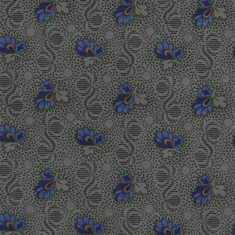 Marcus Fabrics Antique Cotton Calicos groen met blauwe bloem