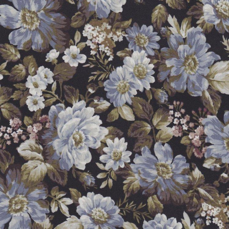 Quilt Gate Gentle Flowers zwart met blauwe roos