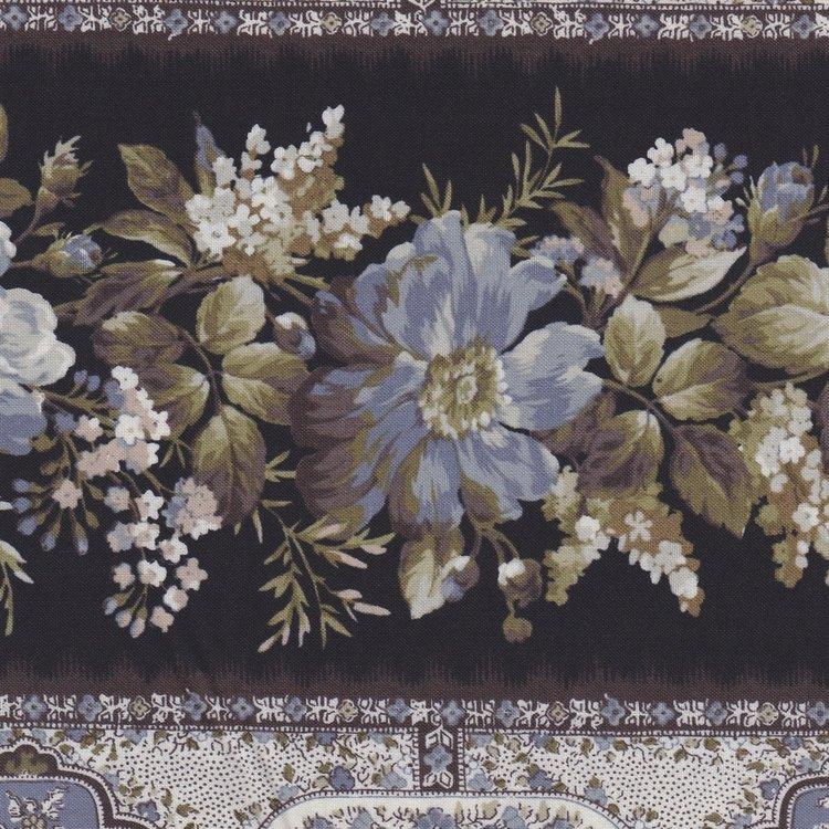 Quilt Gate Gentle Flowers zwart met blauwe roos randstof