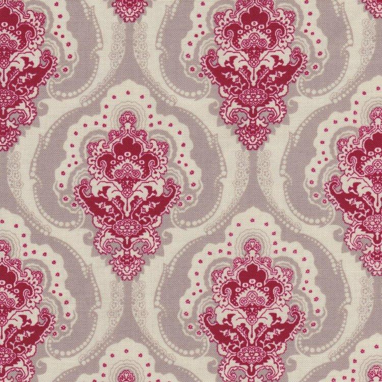 Penny Rose Fabrics Beaujolais taupe met ecru en rood figuur