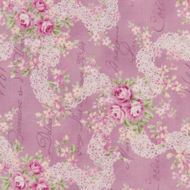 Quilt Gate RURU Bouquet roze met roze roos en kantwerk
