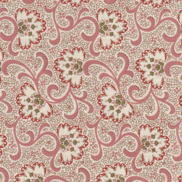 Quilting Treasures Ashford ecru met roze motief