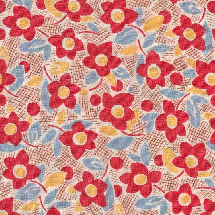 Lecien Retro 30's bruin met rode bloem