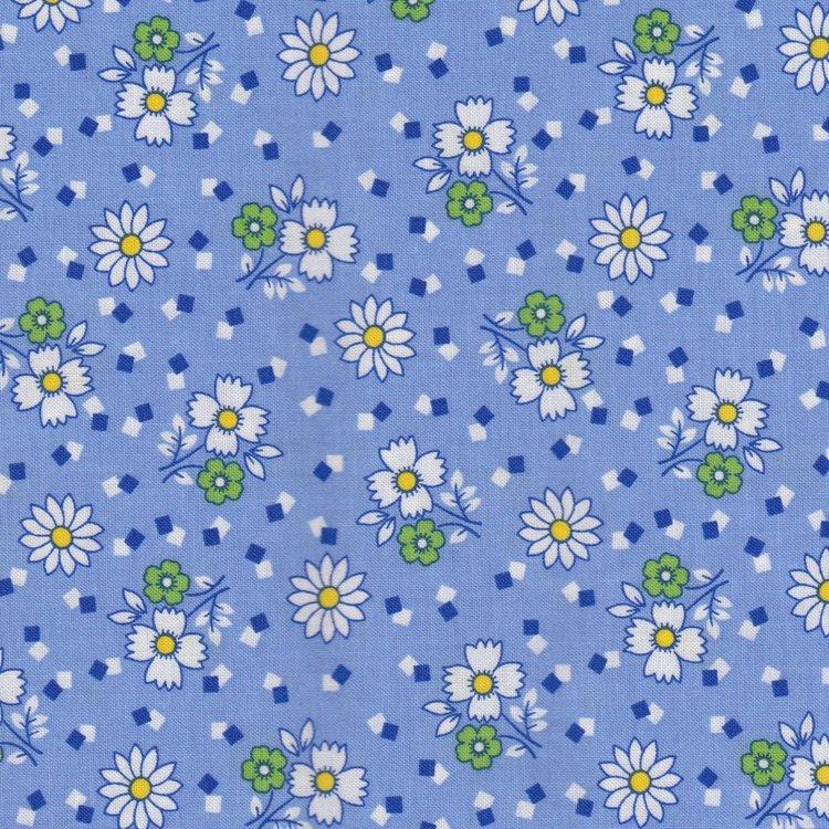 Marcus Fabrics Aunt Grace blauw met wit bloemetje