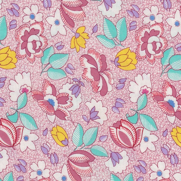 Marcus Fabrics Aunt Grace roze grote bloem