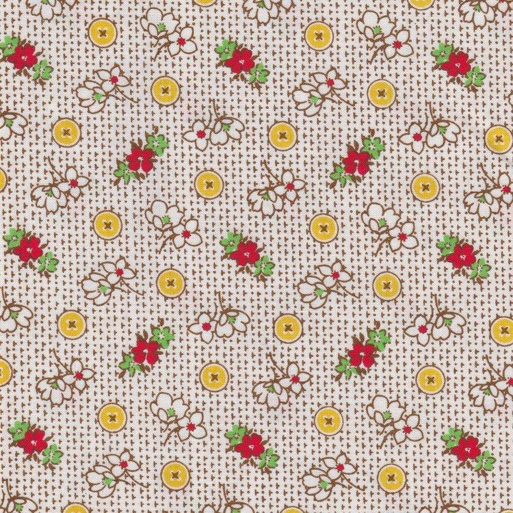 Marcus Fabrics Aunt Grace ecru geel knoopje