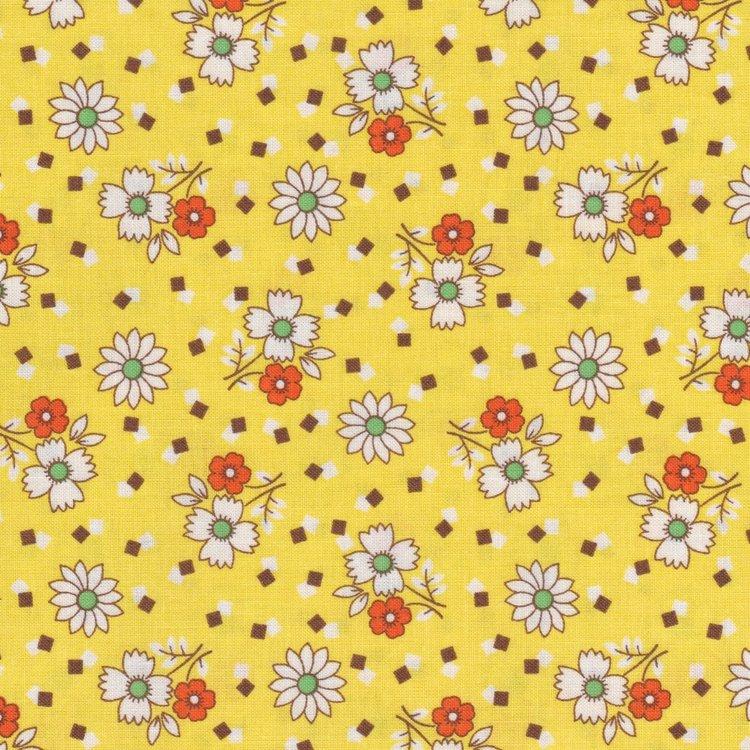 Marcus Fabrics Aunt Grace geel met wit bloemetje