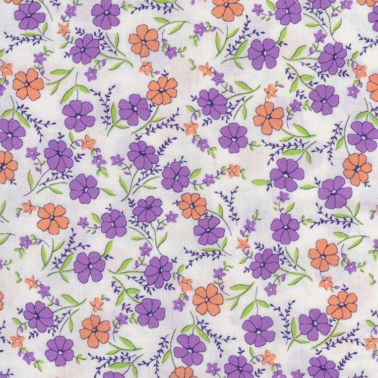 Marcus Fabrics Aunt Grace wit met paars en oranje bloemetjes
