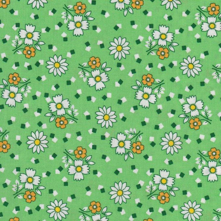 Marcus Fabrics Aunt Grace groen witte bloem