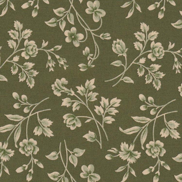 Marcus Fabrics Old Sturbridge Village Anniversary Collection groen ecru bloemtak