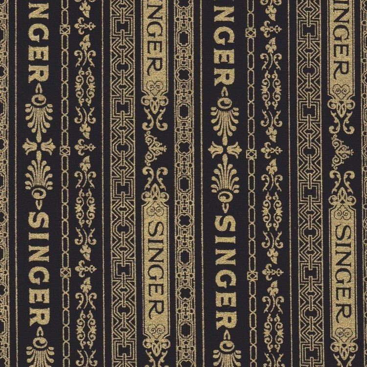 Robert Kaufman Sewing with Singer zwart met goud rand