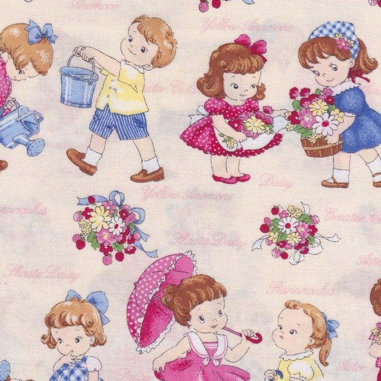Lecien Old New Fabric ecru met kindjes