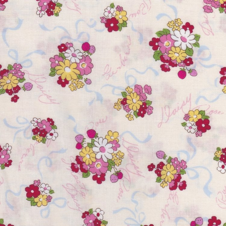 Lecien Old New Fabric ecru met boeketjes