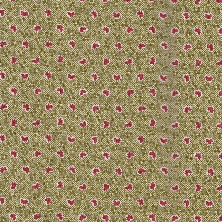 Windham Fabrics Sampler groen met rood werkje