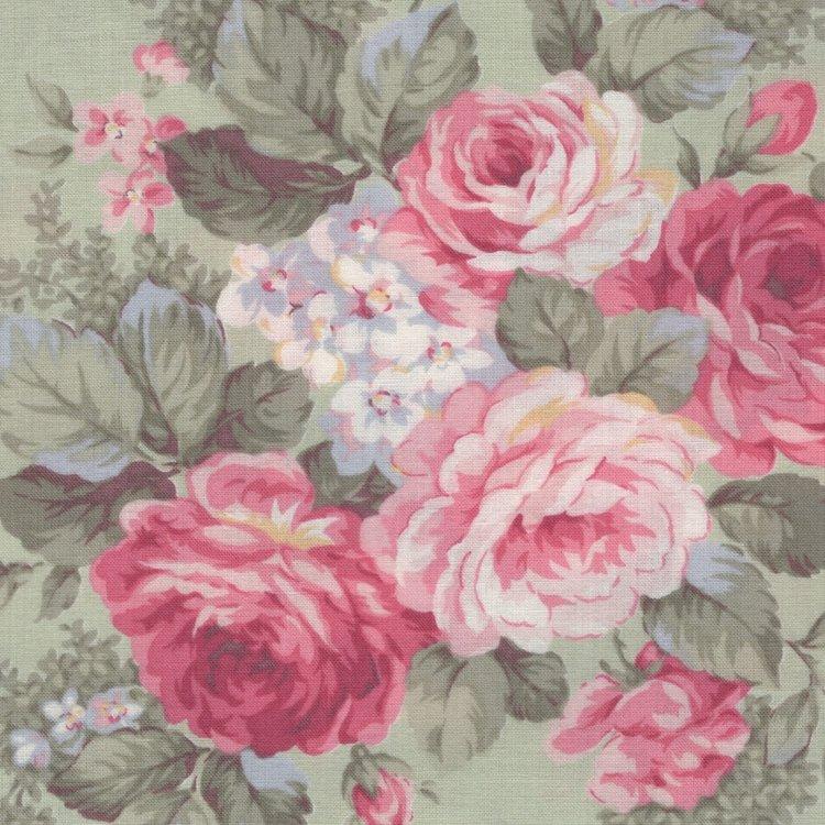 Quilt Gate RURU Bouquet groen roze roos groot
