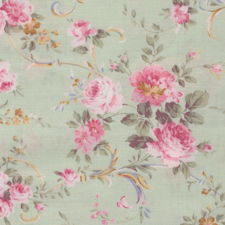 Quilt Gate RURU Bouquet groen roze roos middel