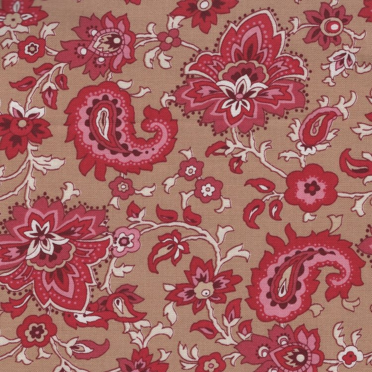 Penny Rose Fabrics Garnet tan paisley en bloem