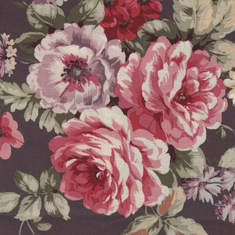 Quilt Gate RURU Bouquet bruin roze roos