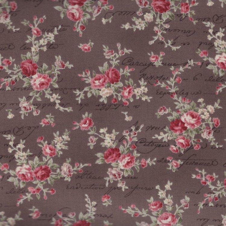 Quilt Gate RURU Bouquet bruin roze roos tekst