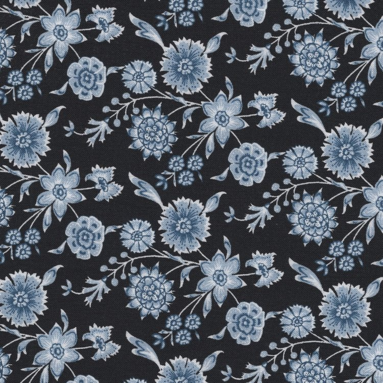 Eyelike Fabrics Hindelopia zwart met blauwe bloem
