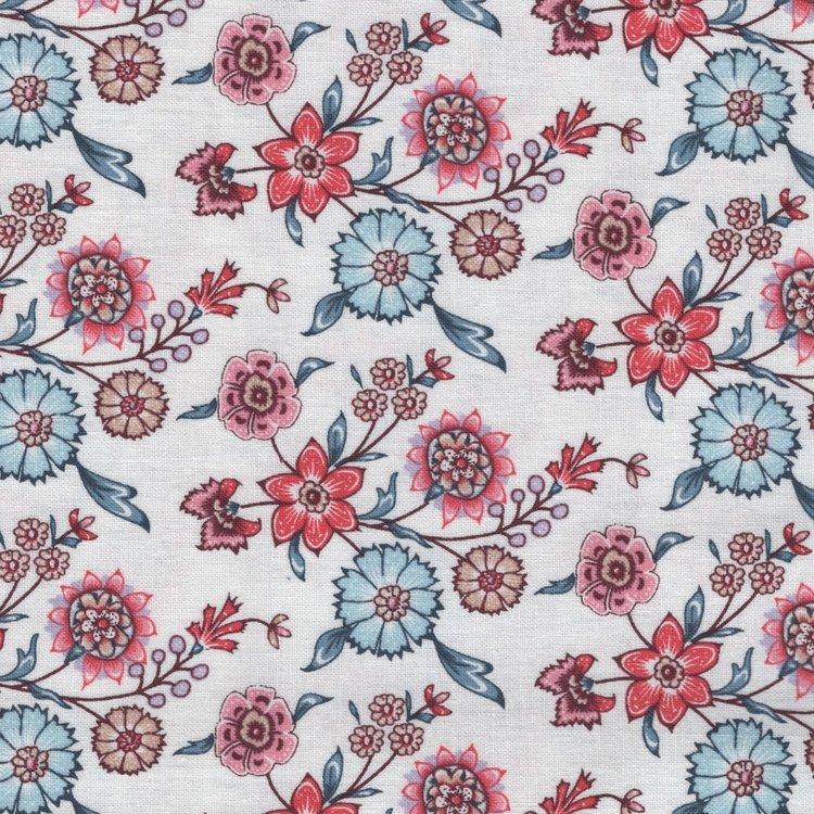 Eyelike Fabrics Hindelopia wit met Indische bloemen