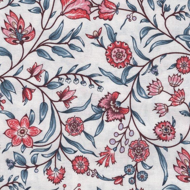 Eyelike Fabrics Hindelopia wit met blauwe tak.