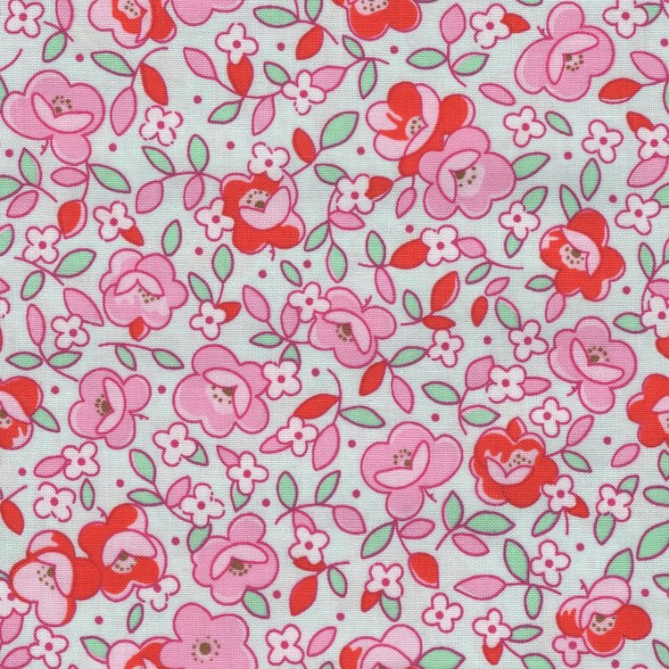 Penny Rose Fabrics Little Dolly mintgroen roze bloem