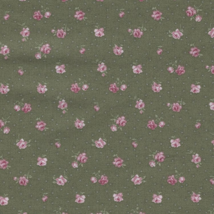Stof a/s Vintage Roses groen roze roosje klein