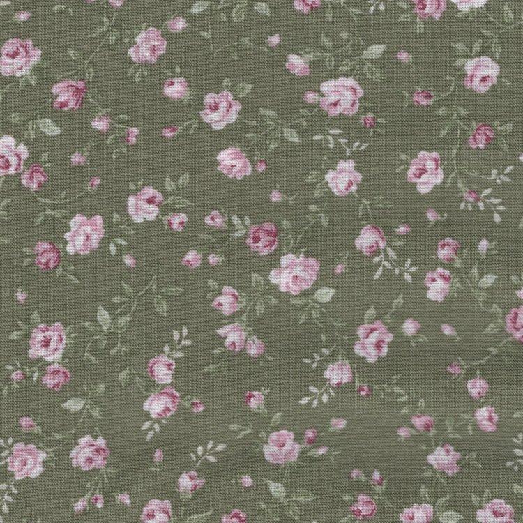 Stof a/s Vintage Roses groen roze roosje tak
