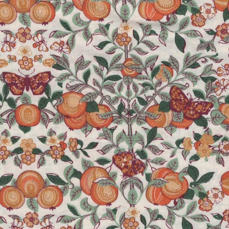 Liberty London The Orchard Garden ecru oranje sinaasappel