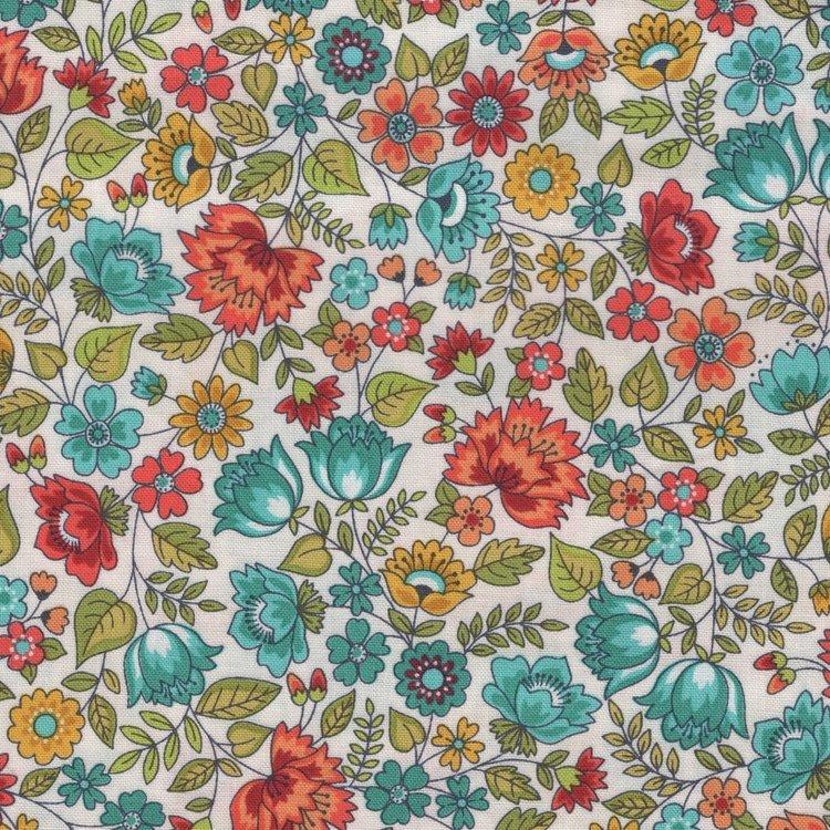 Andover/Makeower Bloom wit oranje en blauw bloemetje