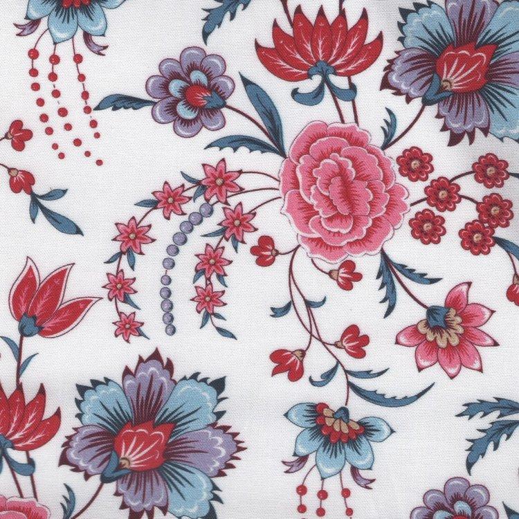 Eyelike Fabrics Hindelopia II wit met grote bloemen