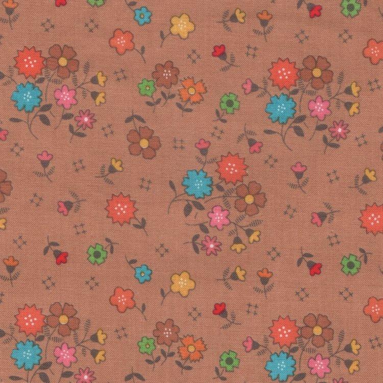Riley Blake Autumn Love bruin bloemetje