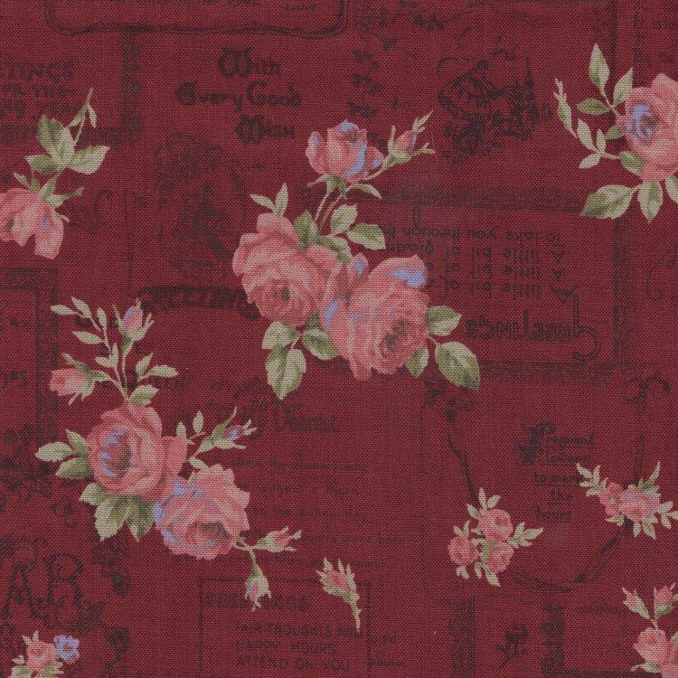 Lecien Antique Rose rood roze roos letters