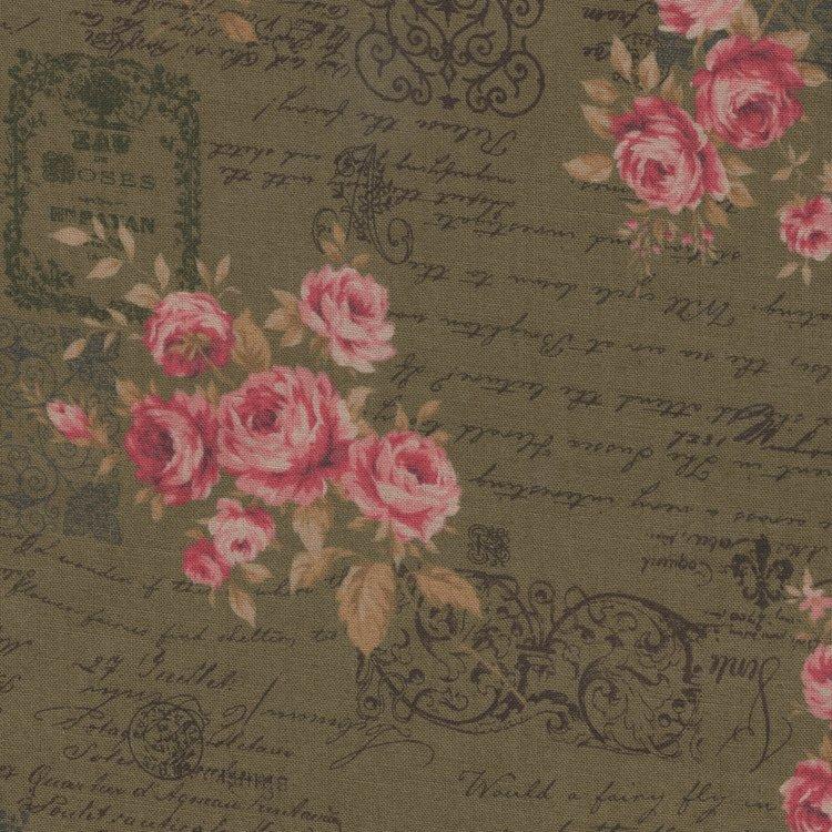 Lecien Antique Rose groen roze roos letters