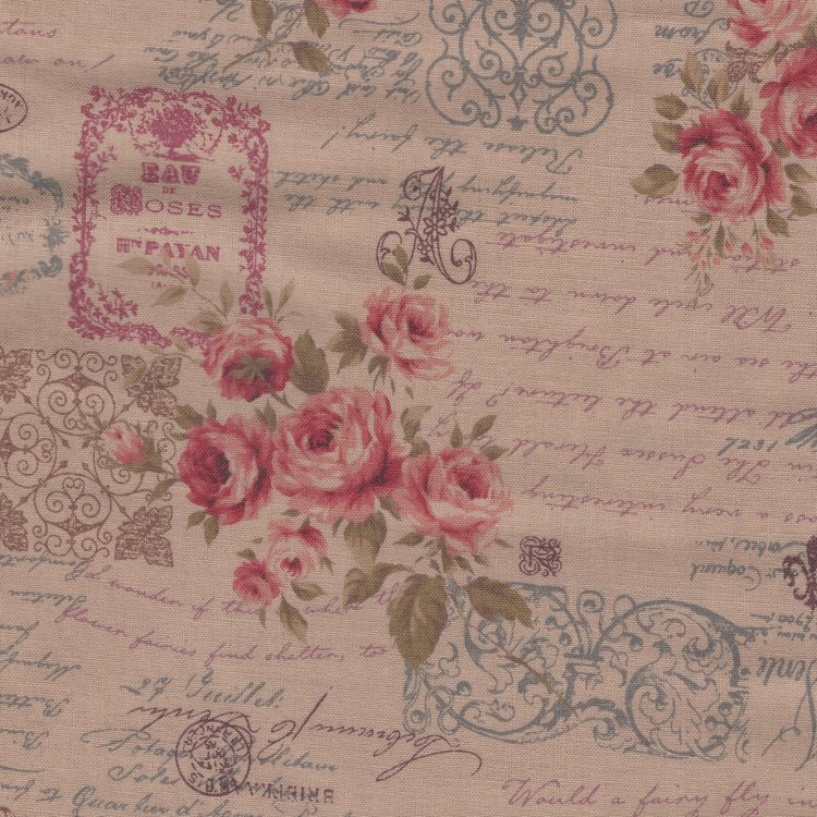 Lecien Antique Rose tan roze roos letters