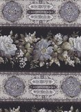 Quilt Gate Gentle Flowers zwart met blauwe roos randstof_