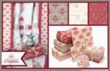 Penny Rose Fabrics Beaujolais taupe met ecru en rood figuur_