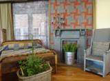 Windham Fabrics Manor House Upstairs blauw ovaal_
