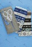 Sajou stof fatquarter naturel blauw streep_