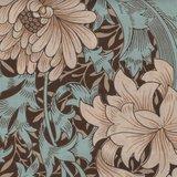 Free Spirit / Morris & co. Merton bruin grote bloem_