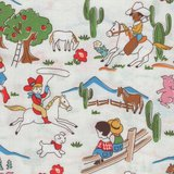 Windham Fabrics Storybook Ranch wit cowboys en indianen_